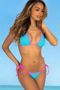 Laguna Aqua Polka Dot & Neon Pink Classic Bikini Top image
