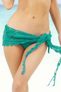Cuba Libre Emerald Green Mini Crochet Sexy Sarong Beach Cover Up image