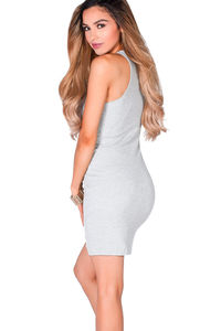 """""""Riley"""" Heather Gray Cut Out Neckline Ribbed Jersey Bodycon Tank Dress image"""