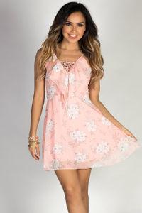 """Baby Love"" Blush Floral Sketch Print Strappy Chiffon Dress image"