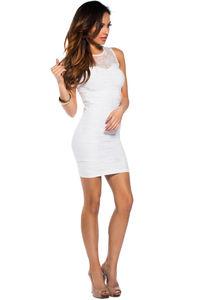 """""""Lola"""" White Bodycon Lace Cut Out Tank Mini Dress image"""