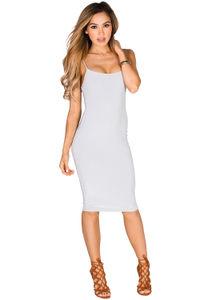 """Anna Marie"" Gray Simple Bodycon Midi Slip Dress image"