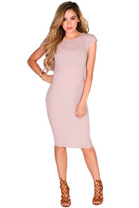 """Lynn"" Mauve Zip Shoulder Ribbed Bodycon Short Sleeve Midi Dress image"