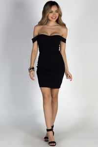 """My Moment"" Black Off Shoulder Bodycon Sheath Dress image"
