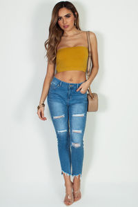 """""""Just Peachy"""" Mustard Yellow Bandeau Top image"""