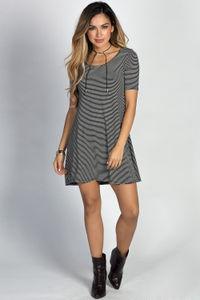 """Lara"" Black Striped Half Sleeve Jersey Trapeze Dress image"
