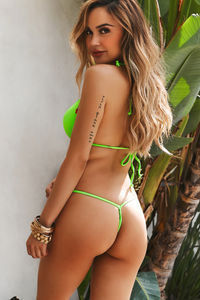 Solid Neon Green Y-Back Thong Underwear image