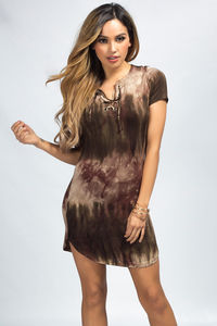"""Aziza"" Olive Green Tie Dye Short Sleeve Lace Up Tunic Dress image"