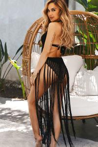 Tri-Coastal Black Fringe Maxi Dress Cover Up image