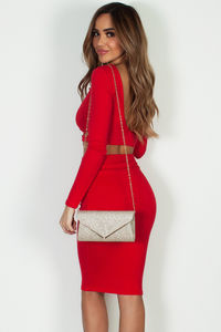 """Pasito, Pasito"" Red Long Sleeve Crop Top W/ Skirt image"