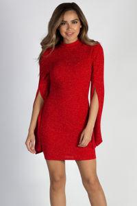 """""""Feelings To The Side"""" Red Shimmer Split Bell Sleeve Mock Neck Dress image"""