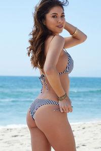 Navy Stripes Print Triangle Bikini Top image