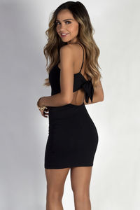 """Another Shot"" Black Open Tie Back Mini Dress image"