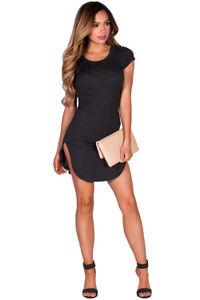 """Ciara"" Black Ribbed Jersey Short Sleeve Bodycon Casual Tunic Dress image"