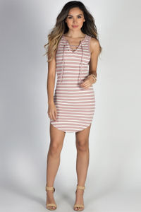 """Coastal Cutie"" Mauve & White Stripes Sleeveless Lace Up Dress image"
