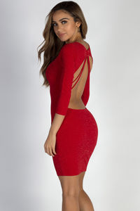 """Can't Believe it"" Red Glittered Open Strappy Back Dress image"