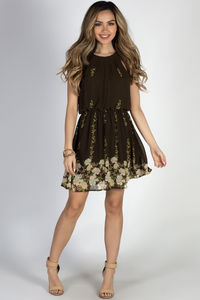 """""""Head in the Clouds"""" Olive Floral Short Chiffon Dress image"""