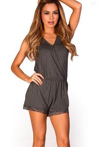 """Maribel"" Charcoal Grey Casual Sleeveless V Neck Lace Trim Short Romper image"