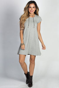"""Devin"" Heather Gray Short Sleeve Pocket Tee Trapeze T Shirt Dress image"