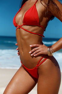 Red Center Loop Wrap Around Bikini Top image