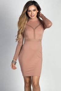 """""""Drea"""" Taupe Mockneck Long Sleeve Fishnet Cut Out Dress image"""