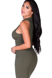 """""""London"""" Olive Green Jersey Sleeveless High Neck Fashion Crop Top image"""