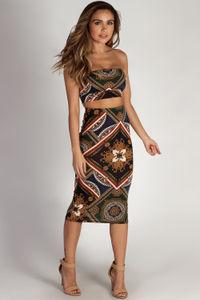 """Who Do You Love"" Baroque Mandala Print Bandeau & Midi Skirt Set image"