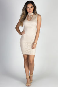 """On the Town"" Nude Lace Sleeveless Lace Up Collar Choker Dress image"