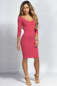 """Dylan"" Pink 3/4 Sleeve Cute and Casual Bodycon Dress image"