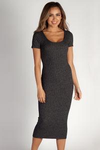 """Tell Me Something Good"" Charcoal Ribbed Short Sleeve Dress image"