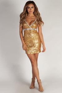 """Doin' Numbers"" Gold & Silver Sequin Cocktail Party Dress image"
