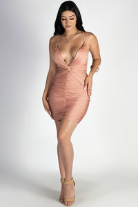 """""""Past Midnight"""" Sienna Plunging Neckline Ruched Bodycon Dress image"""