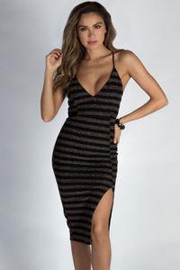 """Know What I Want"" Black Bronze Striped Spaghetti Strap Open Leg Midi Dress image"