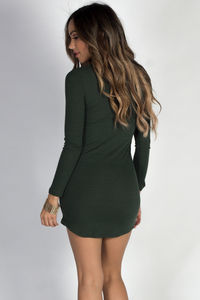 """My Affection"" Hunter Green Ribbed Long Sleeve Choker Dress image"