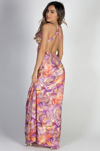 """Take Me Away"" Lilac & Coral Tie Dye Plunging Open Back Abstract Shell Print Maxi Dress image"