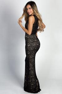 """Helene"" Black Lace Sleeveless Plunging Lace Up Mermaid Maxi Gown image"