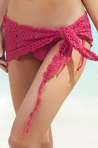Sexy Crochet Tie Sarong Fuchsia Loose Knit image