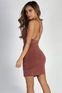 """""""Used To You"""" Rosewood Asymmetrical Ruched Dress image"""