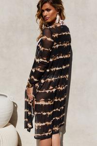Fiery Ember Black & Gold Tie Dye Kimono image