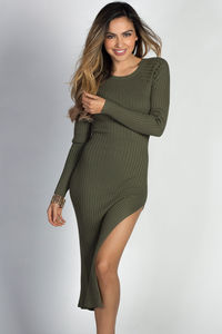 """Celine"" Olive Long Sleeve Thigh High Slit Long Sweater Dress image"