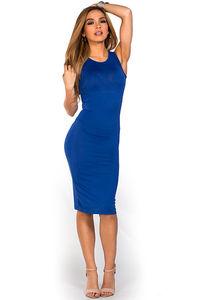 """Kiara"" Royal Blue Sleeveless Casual Bodycon Midi Dress image"
