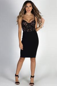 """""""Gentle Kisses"""" Black Lace Bustier Bodice Cocktail Midi Dress image"""