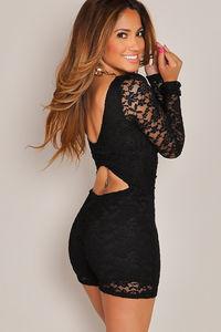 """Carmen"" Black Back Cut Out Long Sleeve Lace Romper image"