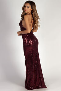 """Don't Hold Your Breath"" Burgundy Sequin Evening Gown image"