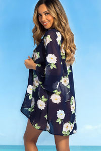 Royal Hawaiian Navy & Taupe Floral Print Bell Sleeve Chiffon Kimono Cover Up image