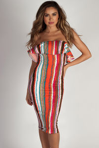 """Perfect Day"" Multi Color Striped Ruffle Tube Dress image"