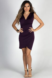 """""""In Your Arms"""" Purple Sleeveless Bodycon Wrap Dress image"""