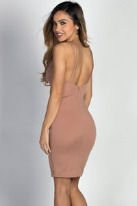 """Dezra"" Taupe Studded Spaghetti Strap Bodycon Mini Dress image"