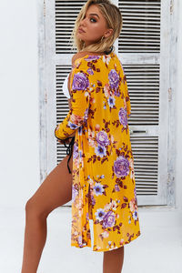 Serena Mustard Mesh Peony Floral Beach Cover Up image