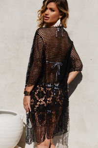Ace of Diamonds Black Crochet Beach Cover Up image
